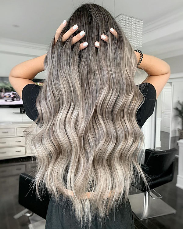 Long Hair And Ash Color