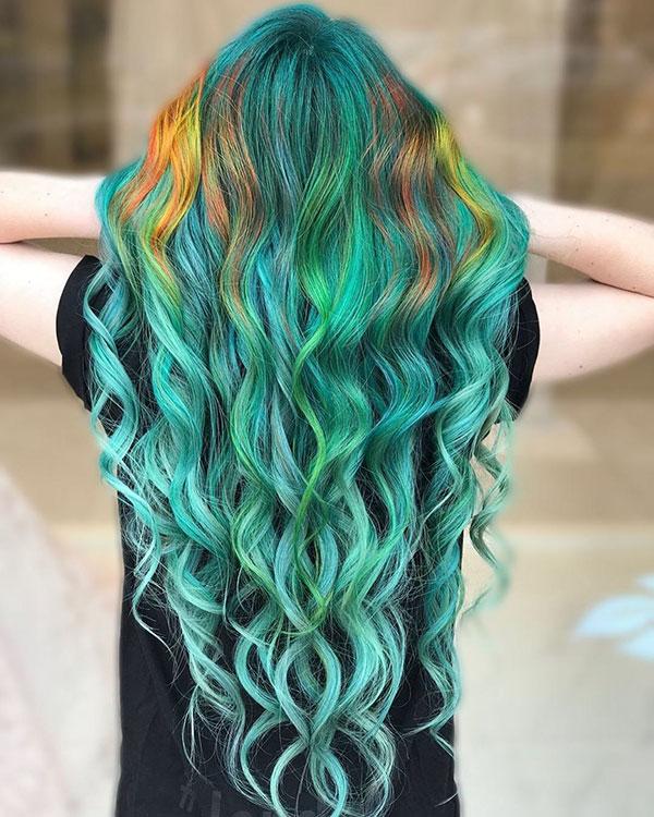 Long Green Hair Color Ideas