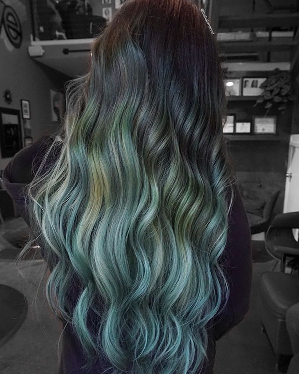 Long Green Hairstyles 2021