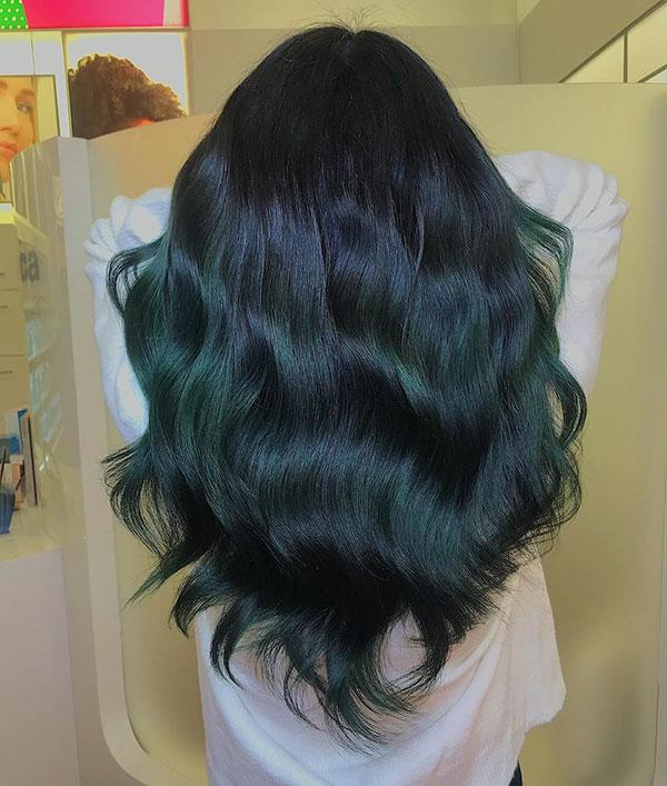 Long Green Hair Color
